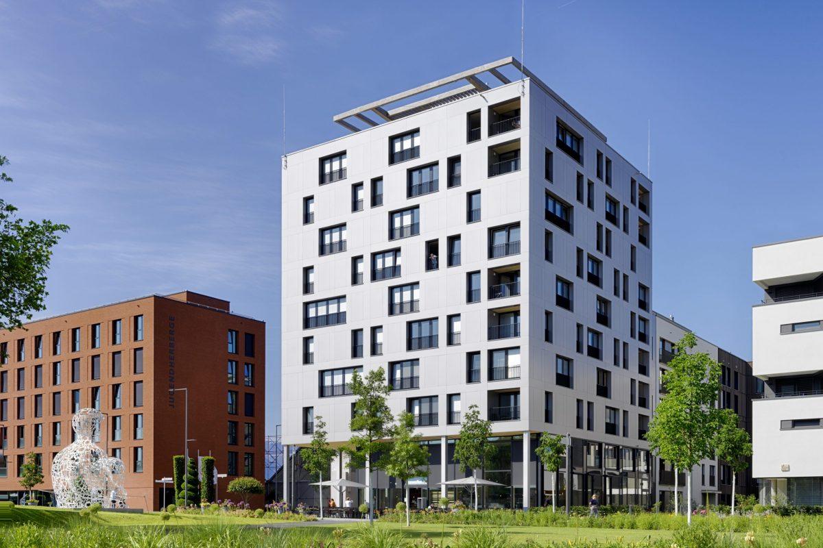 J1 Skaio, Heilbronn, Neckarbogen höchstes Haus in Holzbauweise Deutschlands